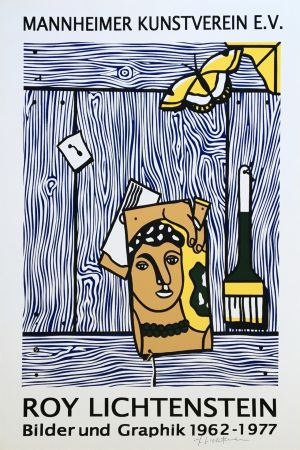 Lithographie Lichtenstein - Roy Lichtenstein 'Léger Head with Paintbrush' 1977 Hand Signed Original Pop Art Poster with COA