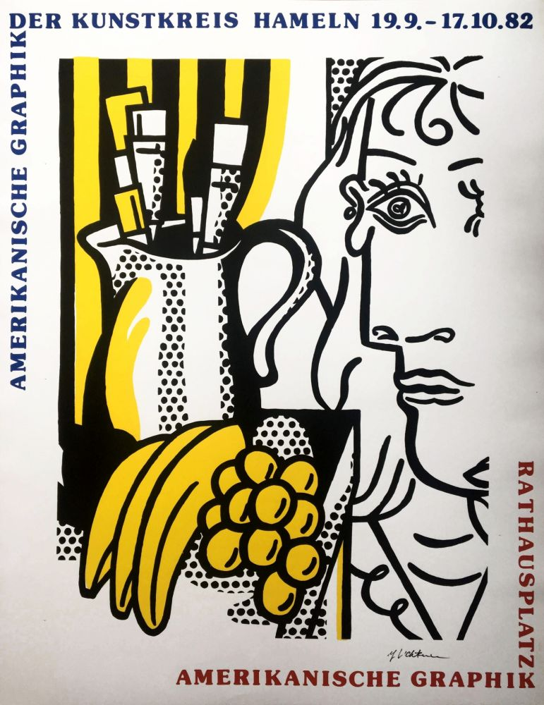Sérigraphie Lichtenstein - Roy Lichtenstein 'Still Life With Picasso' 1982 Hand Signed Original Pop Art Poster