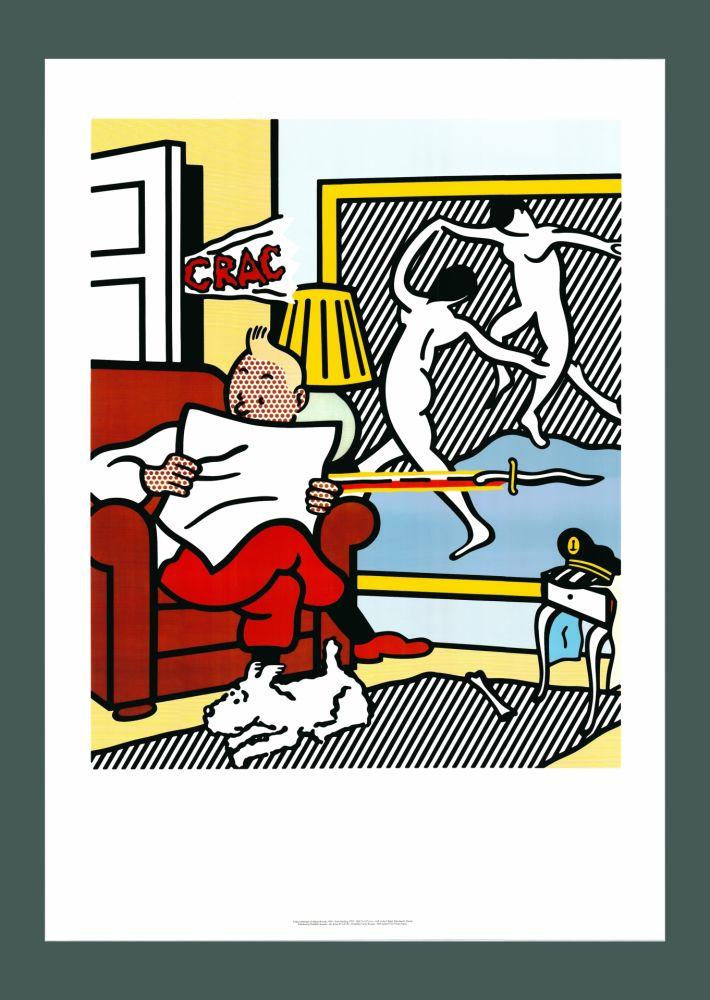 Lithographie Lichtenstein - Roy Lichtenstein 'Tintin Reading' 1994 Original Pop Art Poster