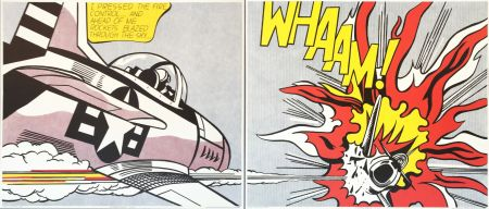 Lithographie Lichtenstein - Roy Lichtenstein 'WHAAM!' 1986 Original Pop Art Diptych Poster Set
