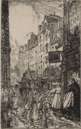 Gravure Lepere - Rue Boutebrie, le quartier St. Séverin