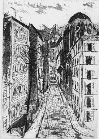 Eau-Forte Et Aquatinte Sassu - Rue elisèe de Beaux-Arts