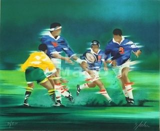 Lithographie Spahn - Rugby