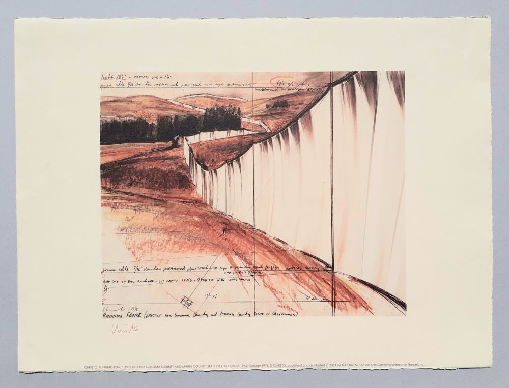 Lithographie Christo - Running fence, project for Sonoma county and Marin county