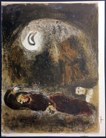 Lithographie Chagall - RUTH AUX PIEDS DE BOOZ. Lithographie originale pour la Bible, 1960.