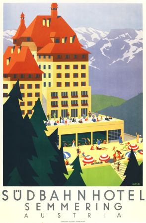 Lithographie Kosel - Südbahnhotel Semmering Austria
