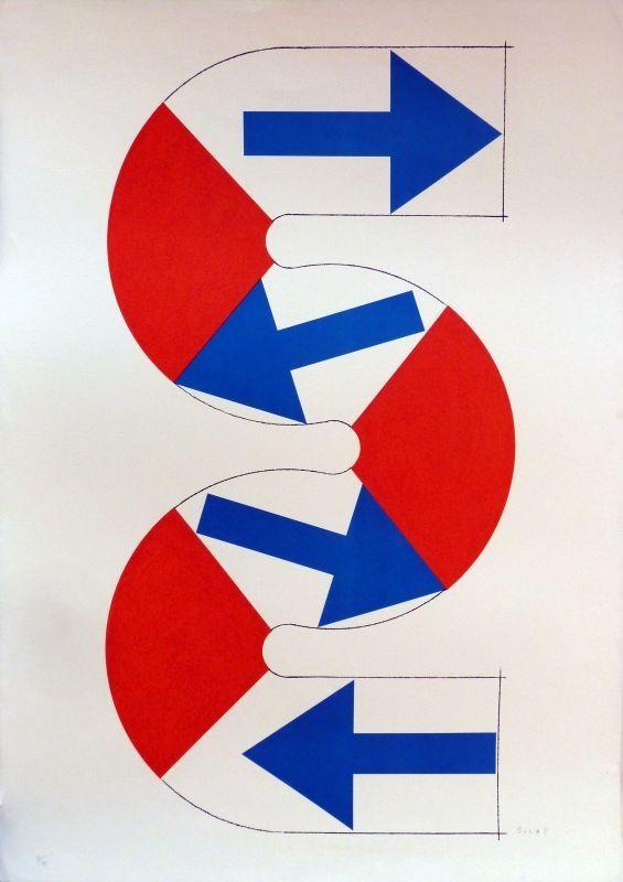 Lithographie Sugai - S (flèches bleues)