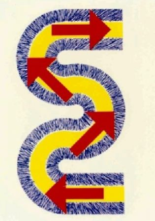 Lithographie Sugai - S (Flèches rouges)