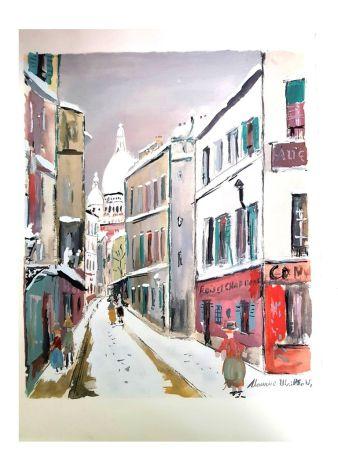 Lithographie Utrillo - Sacré Coeur - Village de Montmartre