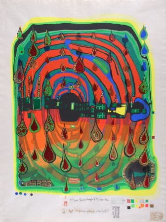 Sérigraphie Hundertwasser - Sad not so sad is rainshine from Rainday on a rany day
