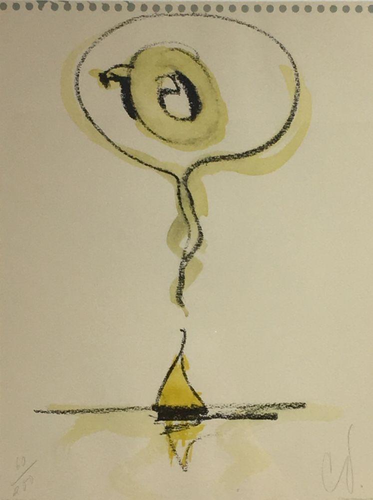 Lithographie Oldenburg - Sailboat Thinking of Q