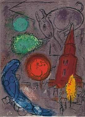 Lithographie Chagall - Saint-Germain-des-Prés