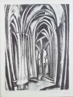 Lithographie Delaunay - Saint severin