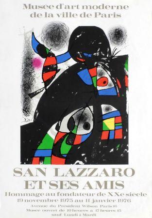Affiche Miró - SAN LAZZARO ET SES AMIS. Hommage. Affiche originale .1975.