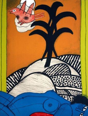 Lithographie Corneille - Sans titre ( femme bleue couchée)