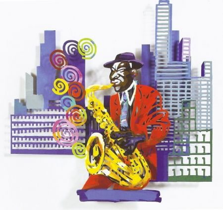 Sérigraphie Gerstein - Saxophone Player, from Jazz and the City Series