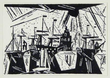 Gravure Sur Bois Feininger - Schiffe am Hafenquai