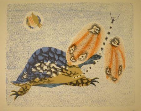 Lithographie Lurcat - (Schildkröte und Libelle)