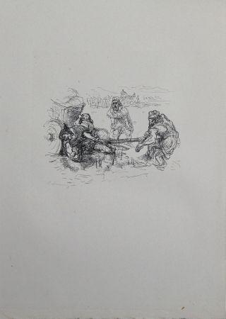 Lithographie Slevogt - Schmutzarbeit der vornehmen Perser