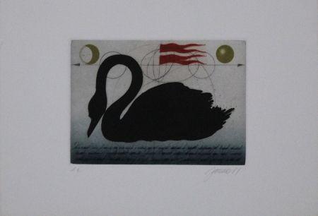 Eau-Forte Et Aquatinte Janak - Schwarzer Schwan / Black Swan
