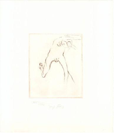 Eau-Forte Et Aquatinte Beuys - Schwurhand: Frau rennt weg mit Gehirn