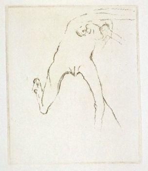 Gravure Beuys - Schwurhand: Frau rennt weg mit Gehirn