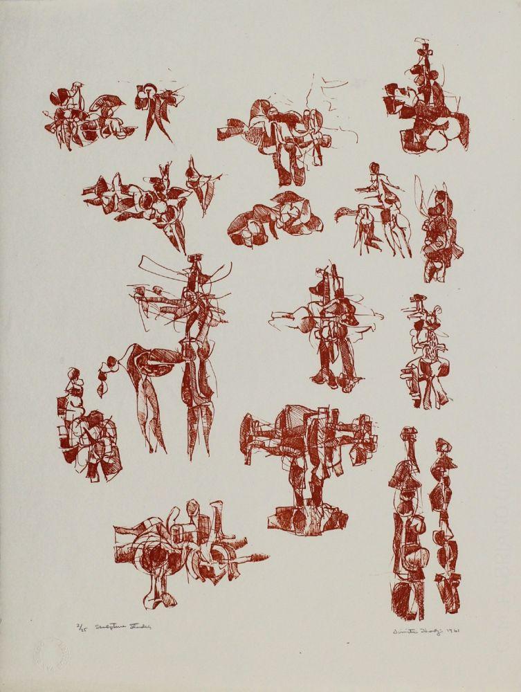 Lithographie Hadzi - Sculpture Studies V