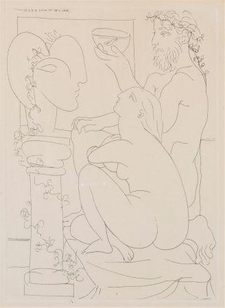 Eau-Forte Picasso - Sculteur avec couple et modele accroupì.