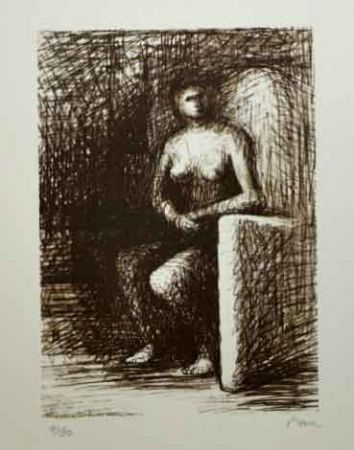 Lithographie Moore - SEATED FIGURE III DARK ROOM