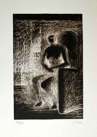 Lithographie Moore - SEATED FIGURE IV REVERSE LIGHTING