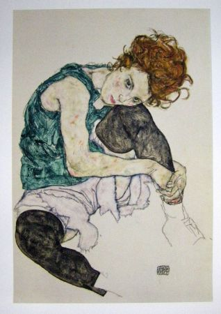 Lithographie Schiele - Seated women