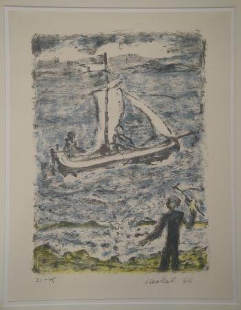 Lithographie Heckel - Segelschiff (Segelboot)