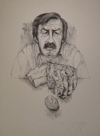 Lithographie Grass - Selbst mit Handschuh und Stein