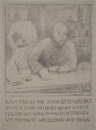Lithographie Amiet - Selbstbildnis am Zeichentisch mit Frau