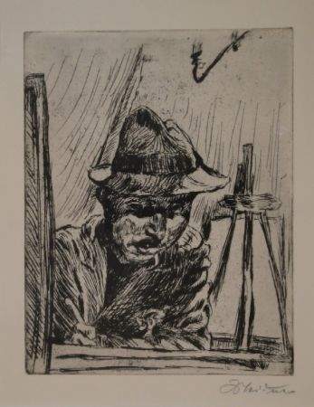 Gravure Meidner - Selbstbildnis (mit Hut im Atelier)