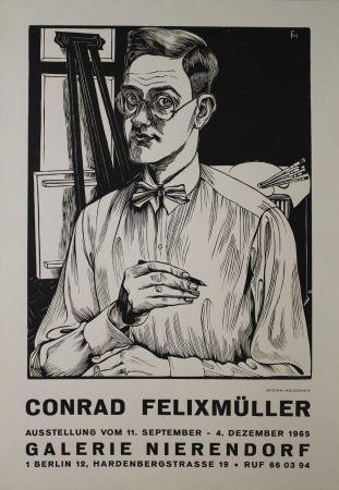 Gravure Sur Bois Felixmuller  - Selbstbildnis mit Zeichenstift