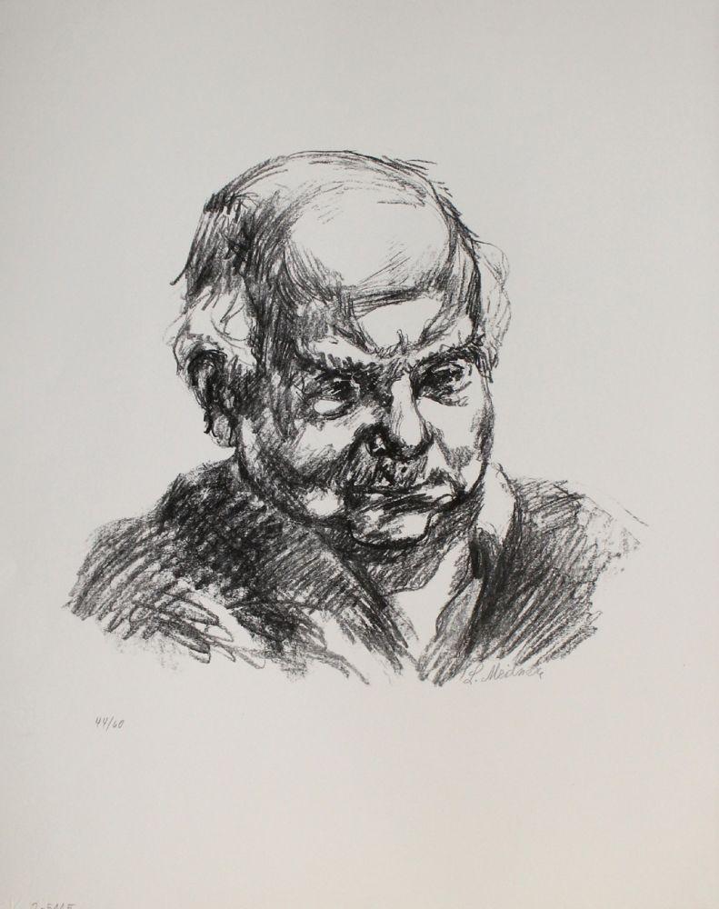 Lithographie Meidner - Selbstbildnis nach rechts