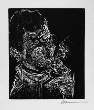 Gravure Sur Bois Hansen-Bahia - Selbstbildnis, rauchend / Self-Portrait, Smoking