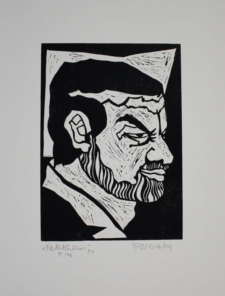 Linogravure Ruzicka - Selbstbildnis / Self-Portrait