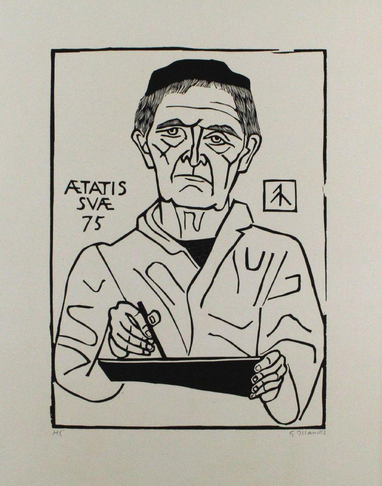 Linogravure Marcks - Selbstbildnis von vorn (Halbfigur)