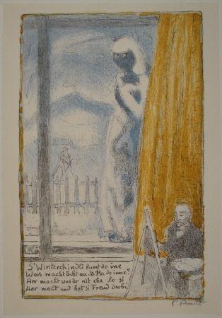 Lithographie Amiet - Selbstbildnis vor der Staffelei (Winterbild)