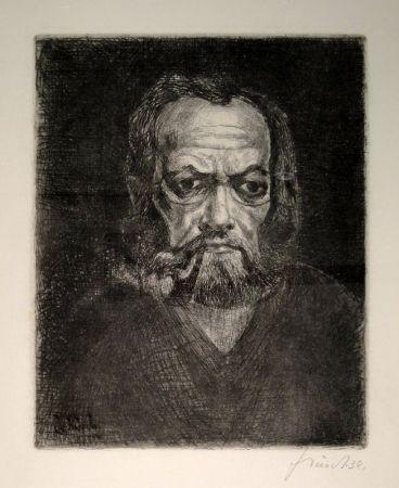Gravure Schürch - Selbstporträt en face mit Pfeife