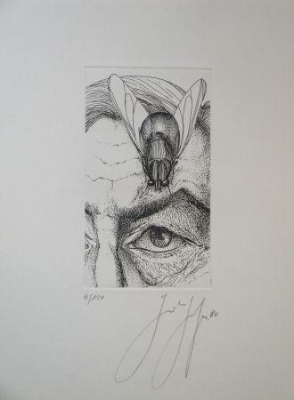 Gravure Grass - Selbstporträt mit Fliege