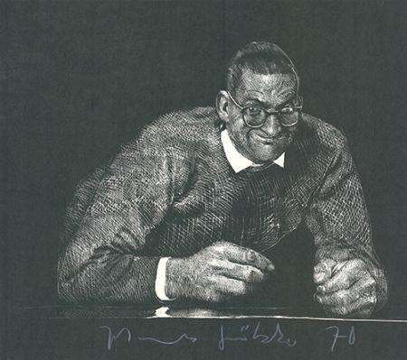 Linogravure Grützke - Selbstportrait II