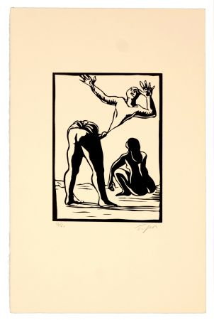 Linogravure Topor - Self-made man