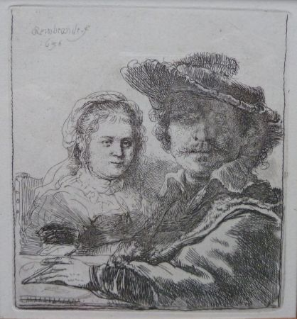 Gravure Rembrandt - Self-portait with his wife Saskia.