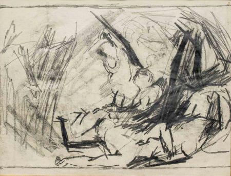 Aucune Technique Auerbach - Self-Portrait and Study of the Brazen Serpent