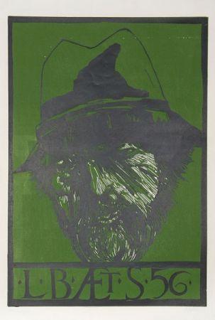 Linogravure Baskin - Self Portrait -