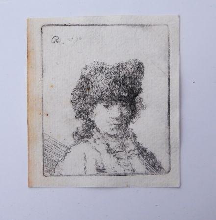 Gravure Rembrandt - Self portrait in fur cap:bust