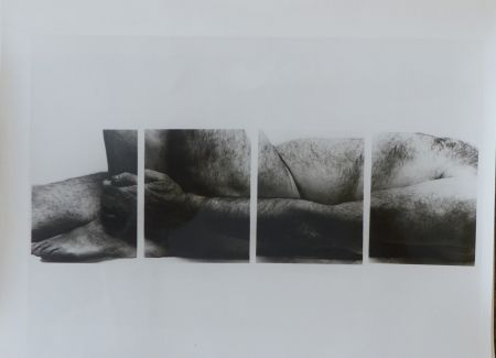 Photographie Coplans - Selfportrait lying figure, holding leg, four panels